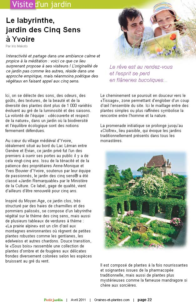 Graines et Plantes. Avril 2011. Article, page 1.
