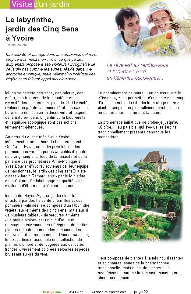 Graines et Plantes. Avril 2011. Article, page 1.