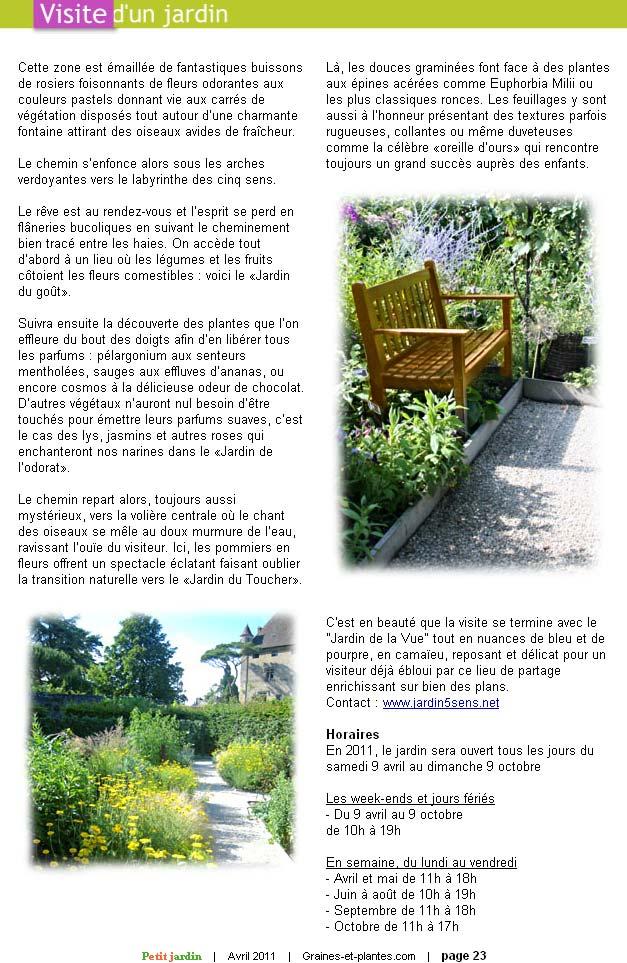Graines et Plantes. Avril 2011. Article, page 2.